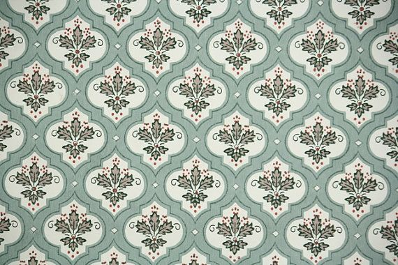 1940s Vintage Wallpaper   Leaf Pattern in Geometric Design of Green 570x380