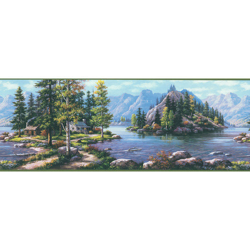 Scenic Mountain Wilderness Border Wallpaper Set of 5 Decor 500x500