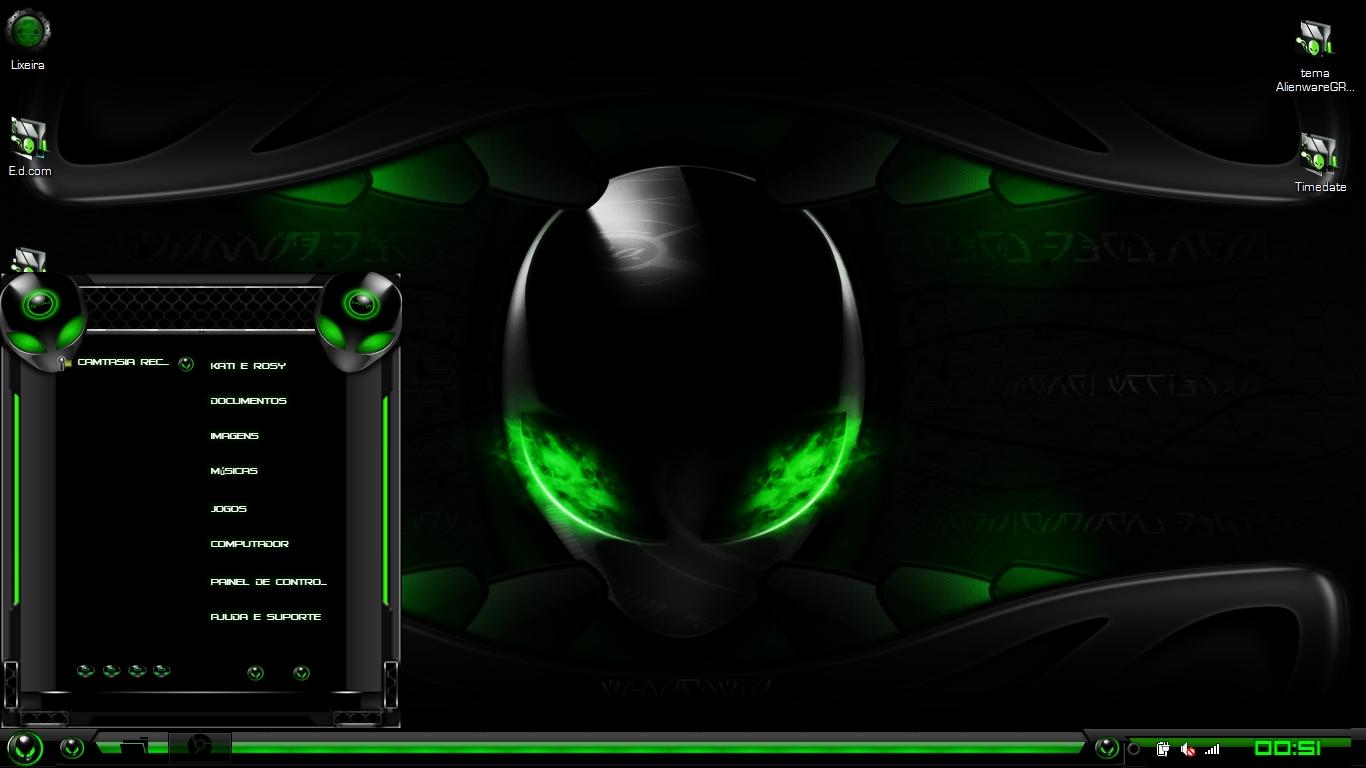 alienware green wallpaper Top windows 7 themes 1366x768