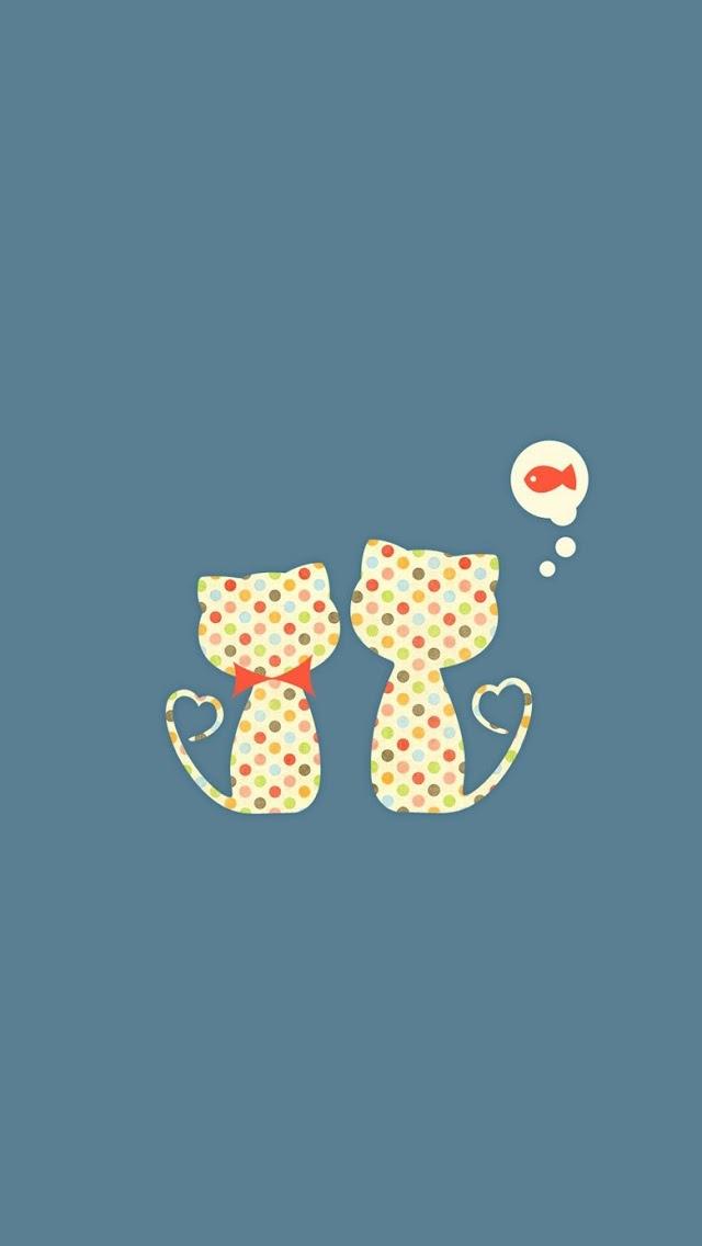 cute cartoon cats iphone 5 5s 5c wallpaper 640x1136