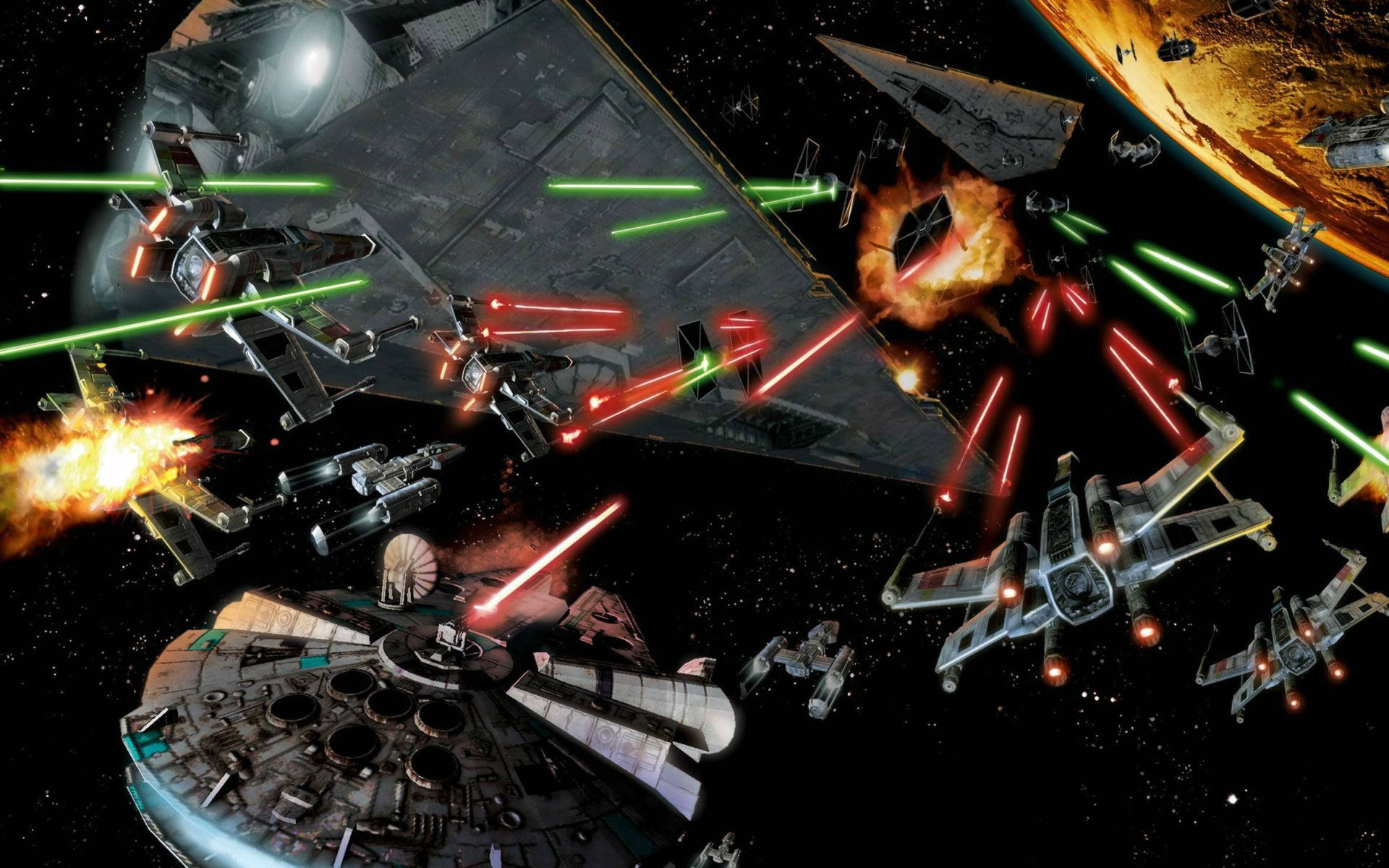 space Battle Star Wars Millennium Falcon Art Wallpapers HD 1920x1200