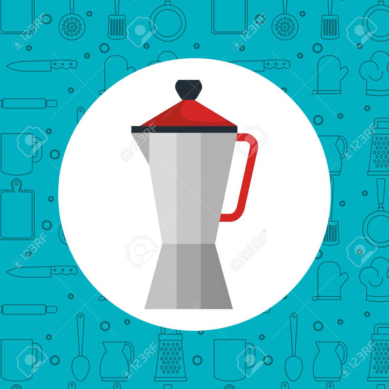 Expresso Coffee Pot Over Blue Background With Hand Drawn Utensils 1300x1300
