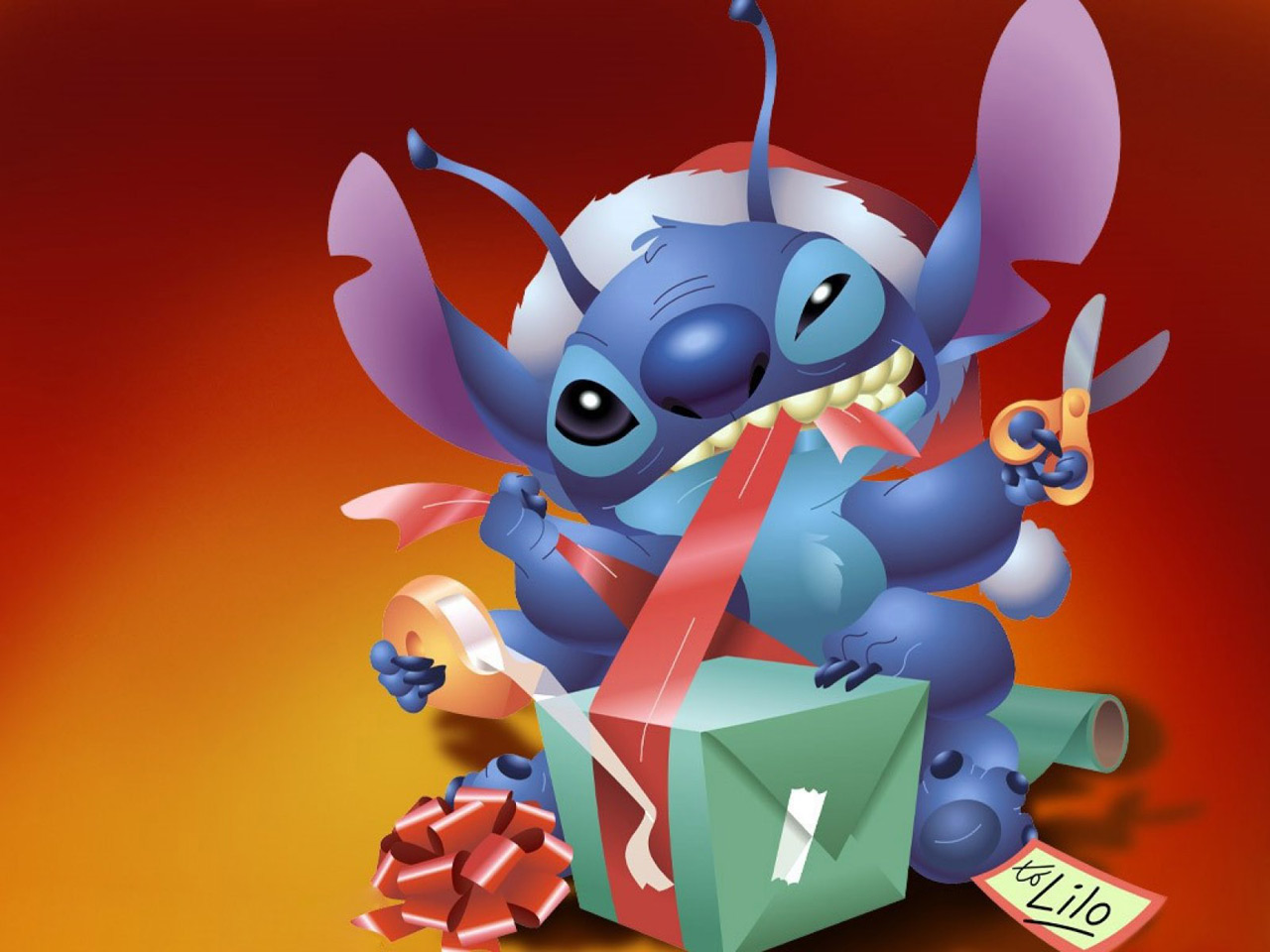 From Stitch to Lilo Christmas Present computer desktop wallpapers 1280x960