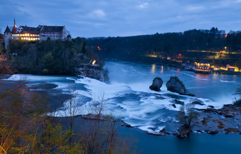 Wallpaper river castle waterfall Switzerland Switzerland 1332x850