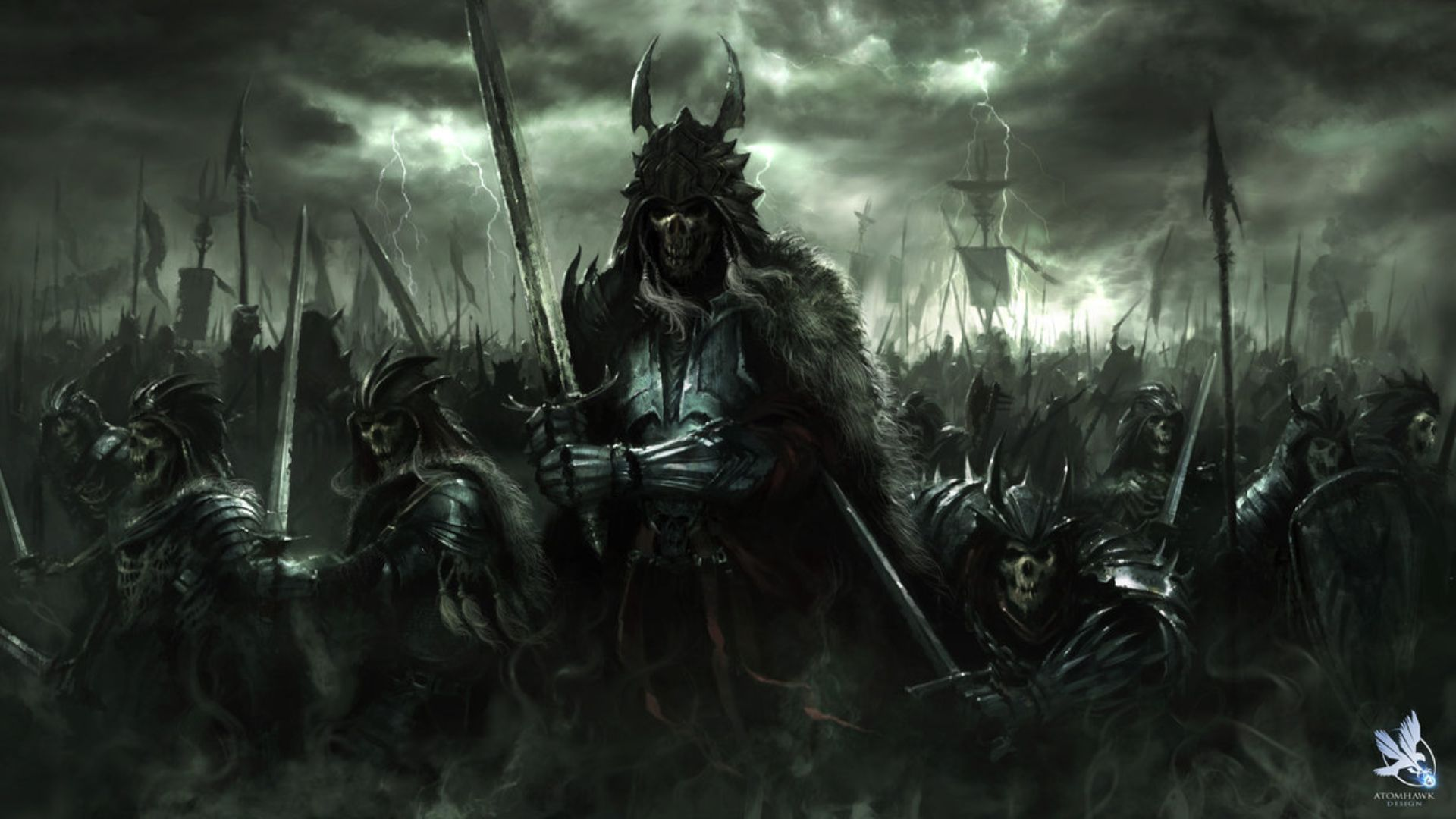 fantasy art dark horror demon skull warrior wepons army wallpaper 1920x1080