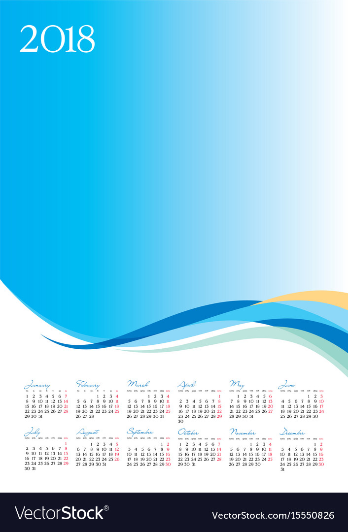 Template of 2018 calendar on blue background Vector Image 706x1080