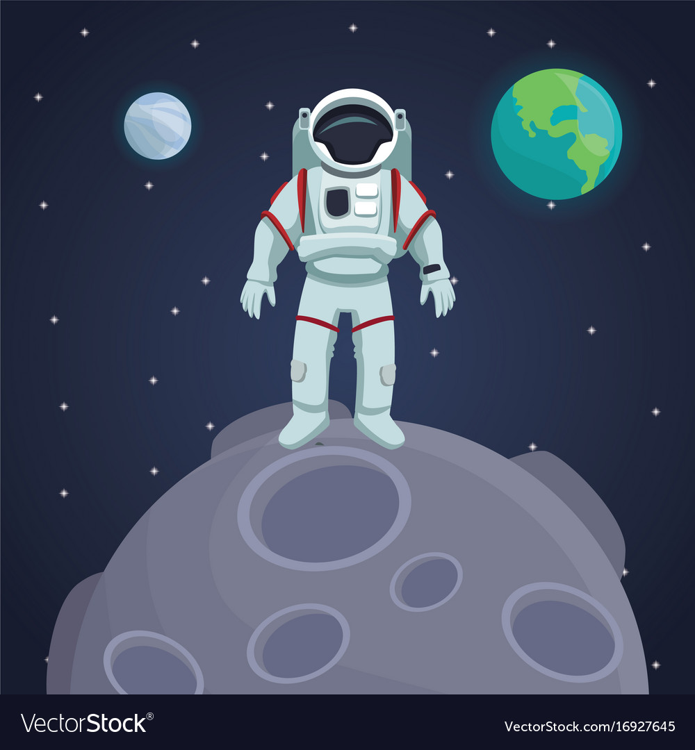 Color space landscape background with astronaut Vector Image 1000x1080