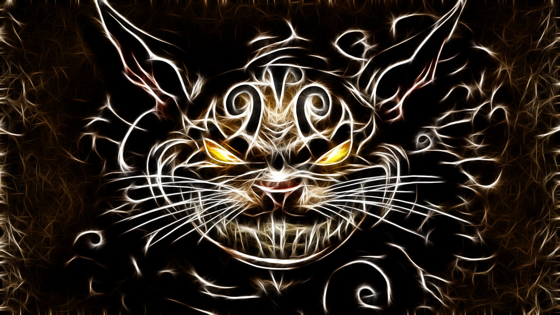 cats Fractalius Cheshire Cat American McGees Alice wallpaper 1920x1080