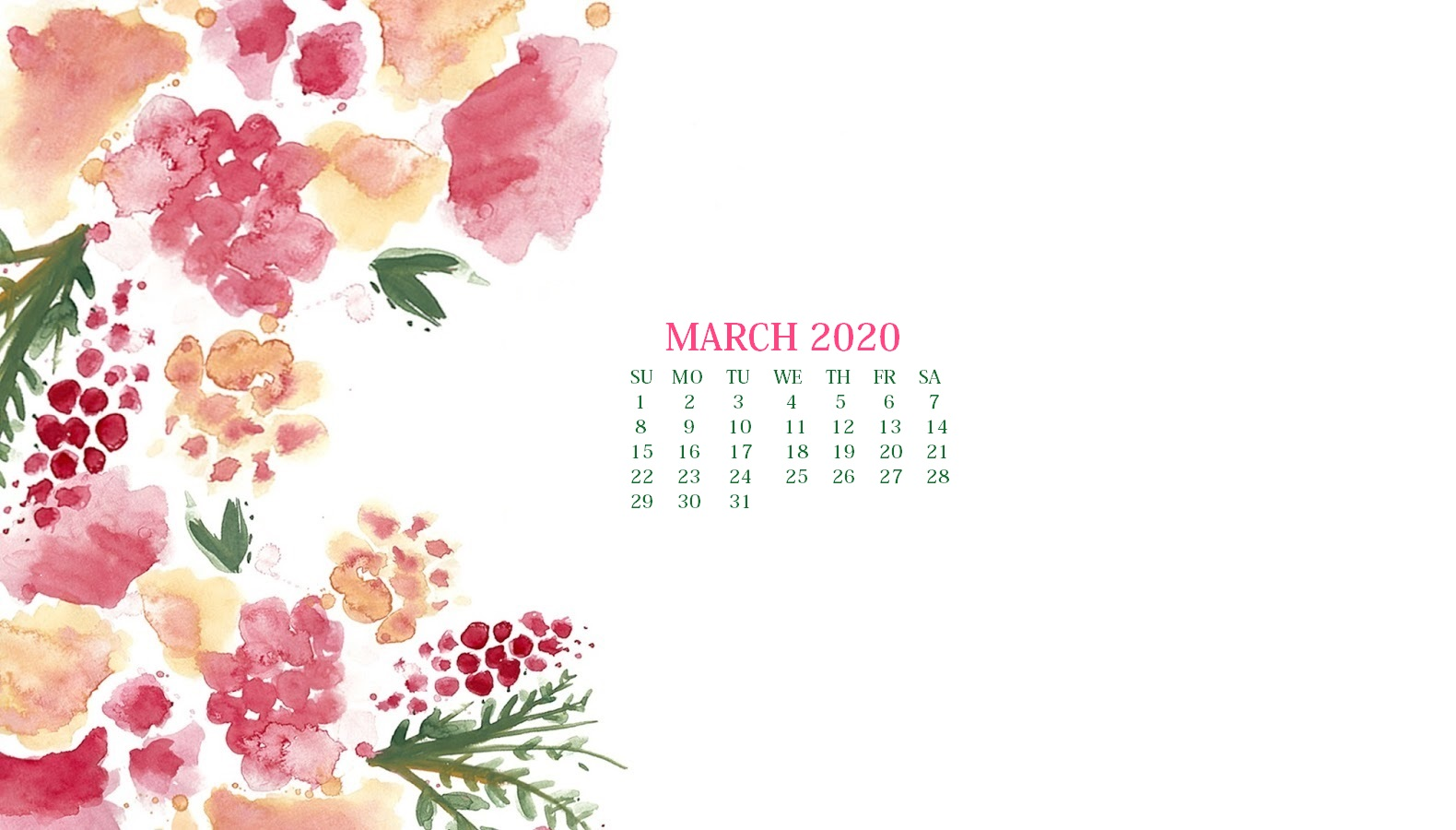 March 2020 Calendar Wallpaper   Desktop and iPhone 1580x900