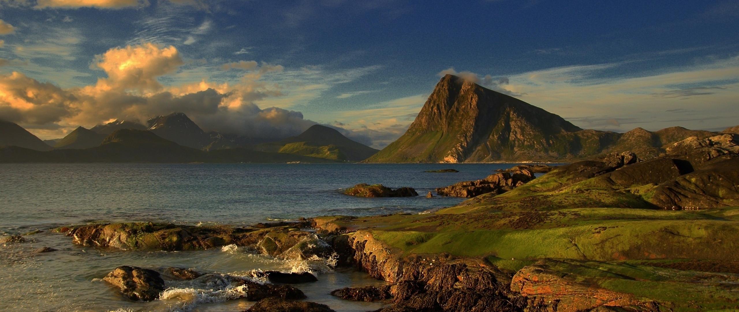 2560x1080 Wallpaper land coast sea mountain slopes wave sky 2560x1080