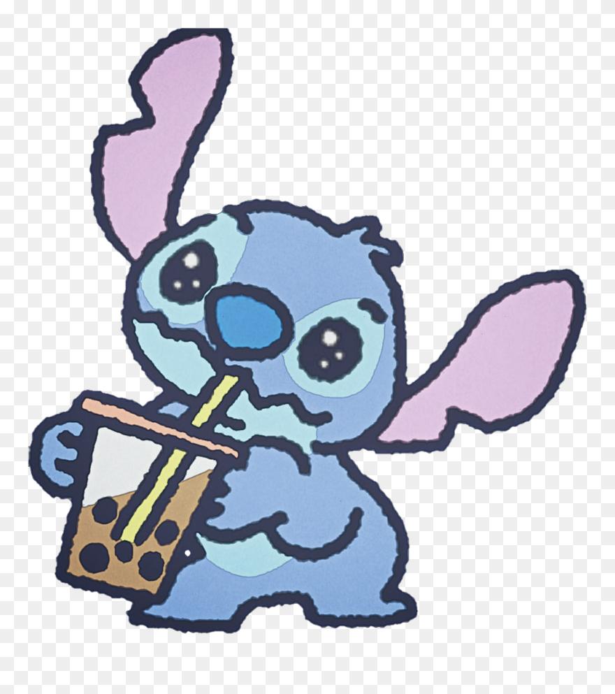 Stitch Cute Watercolor Handpainted Disney Bubbletea   Cartoon 880x993