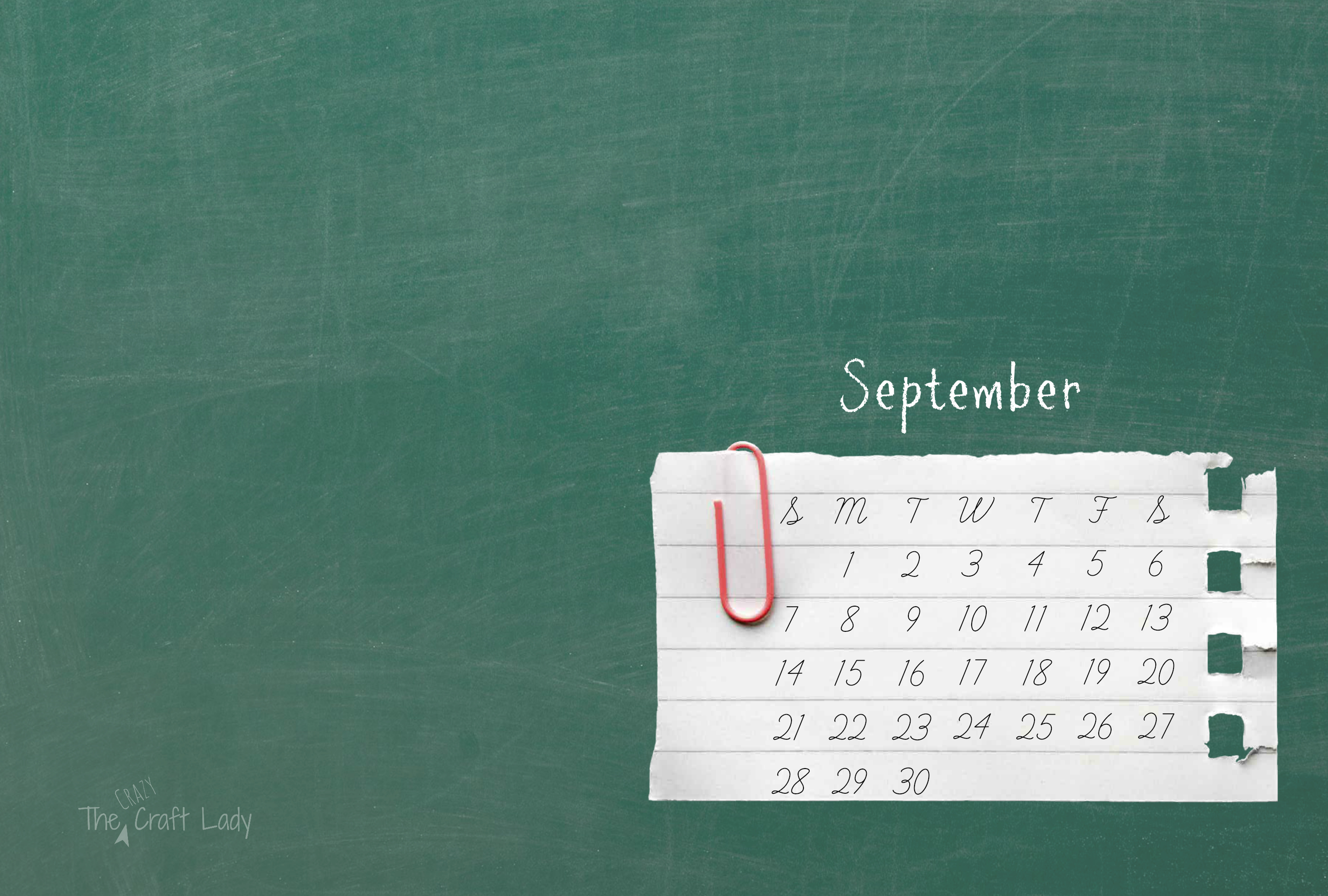 September 2014 Desktop Calendar   The Crazy Craft Lady 3000x2025