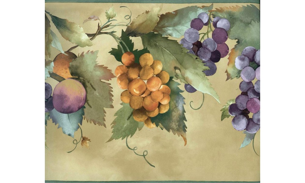 Home Fruits Orange Blue Grapes Wallpaper Border 1000x600