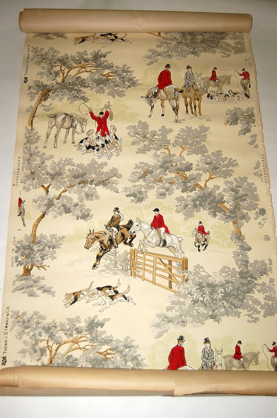 Antique Fox Hunting scene Wallpaper Thomas by honeybeepollen 570x860