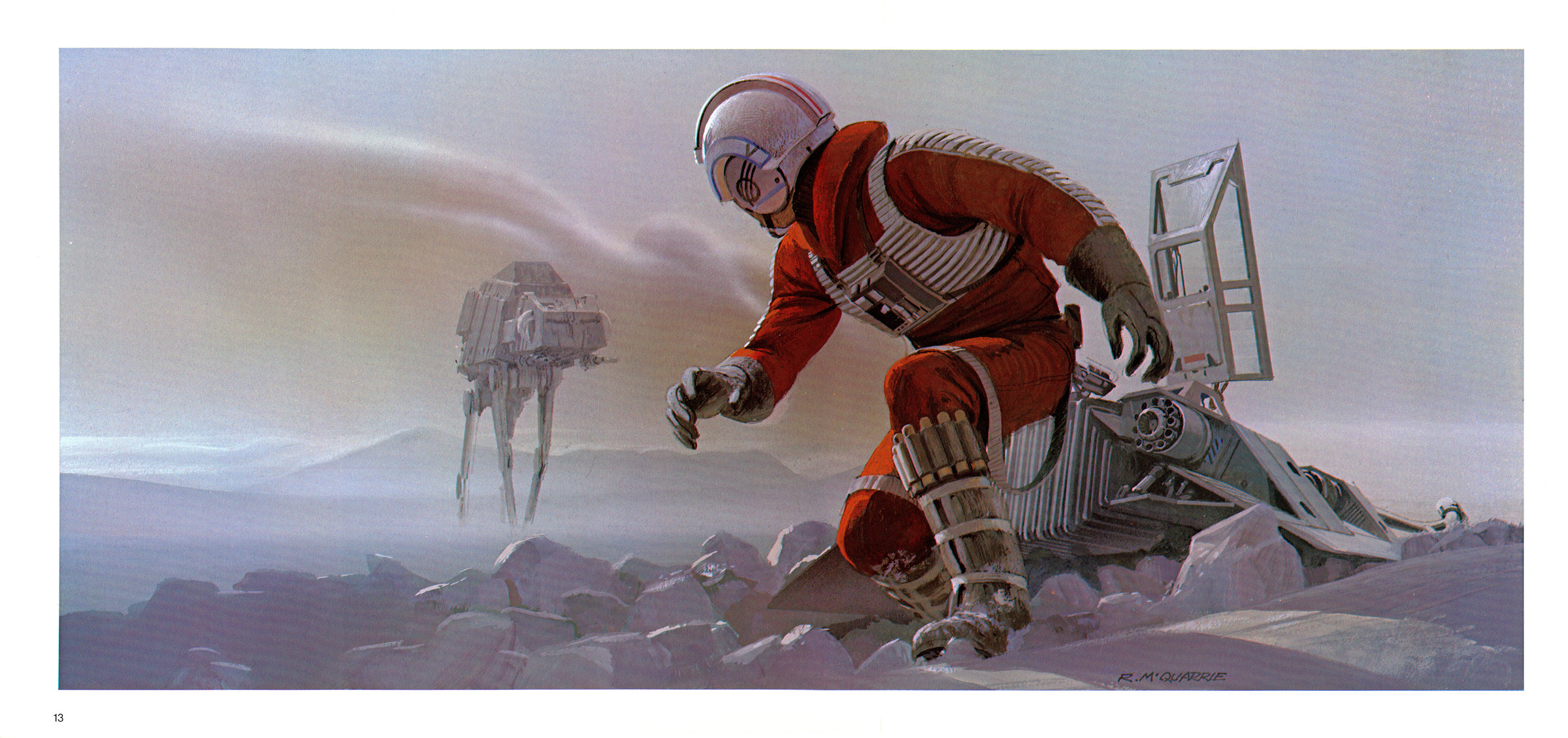 Star Wars Luke Skywalker Hoth Snow Speeder Ralph McQuarrie wallpaper 2400x1130
