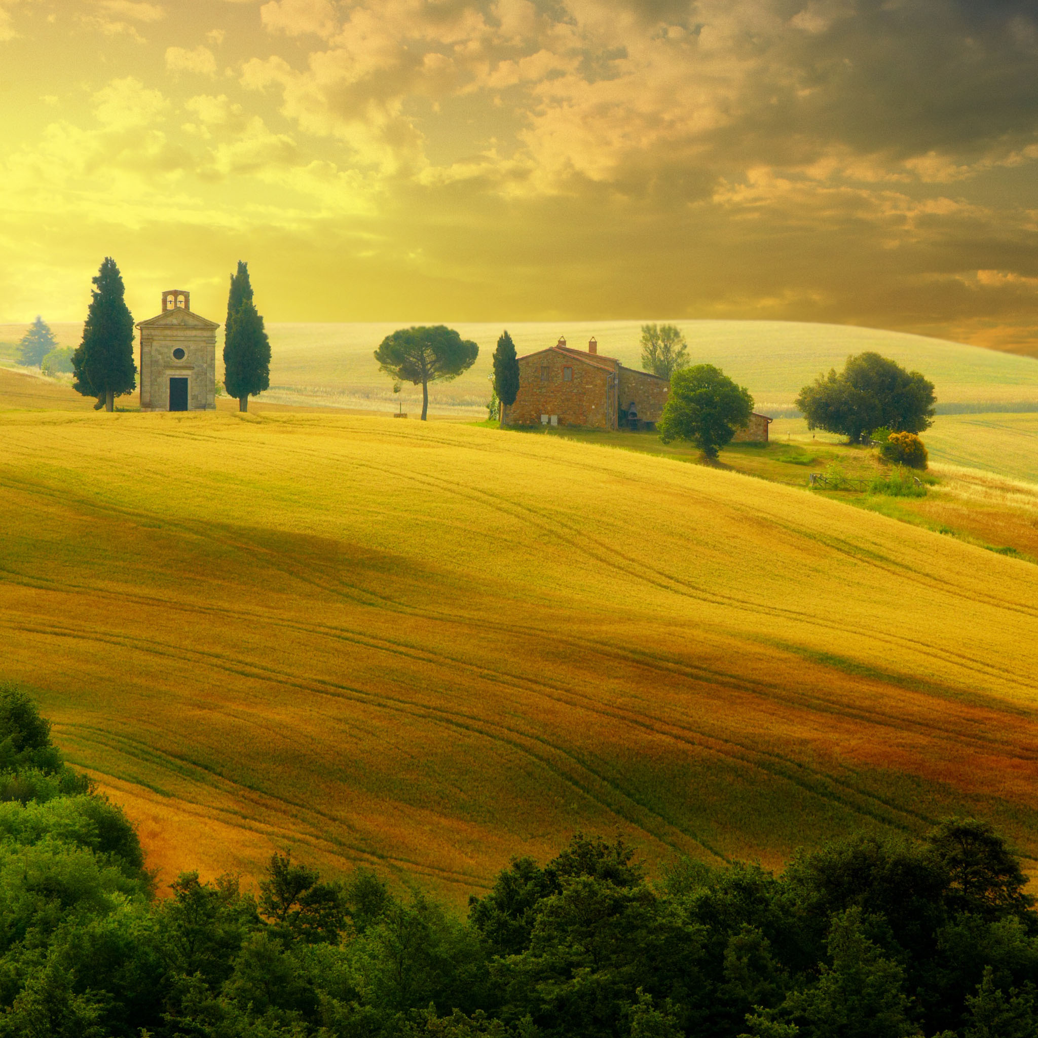 Tuscany Autumn iPad Air Wallpaper Download iPhone Wallpapers iPad 2048x2048