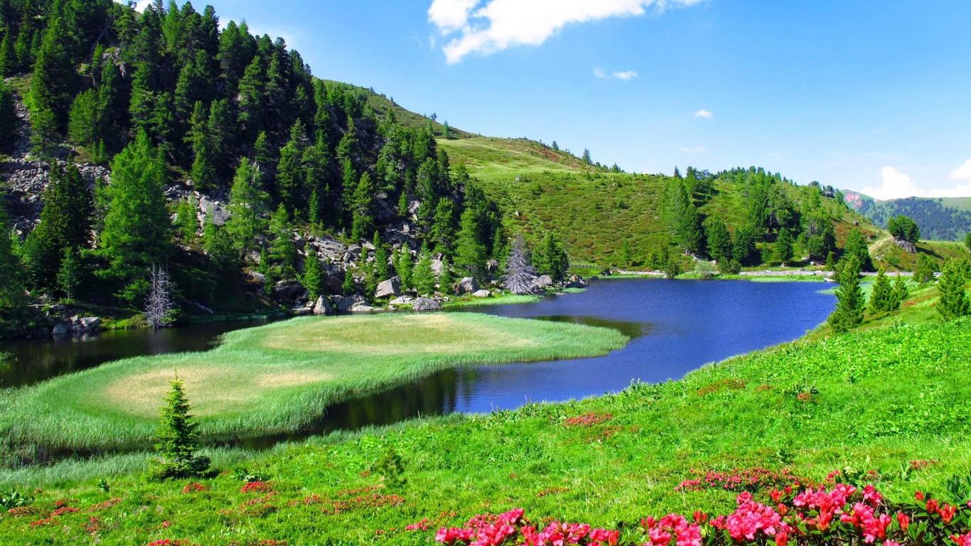 Spring Landscape Slope Sky Nature River 2560x1600 Hd 1366x768