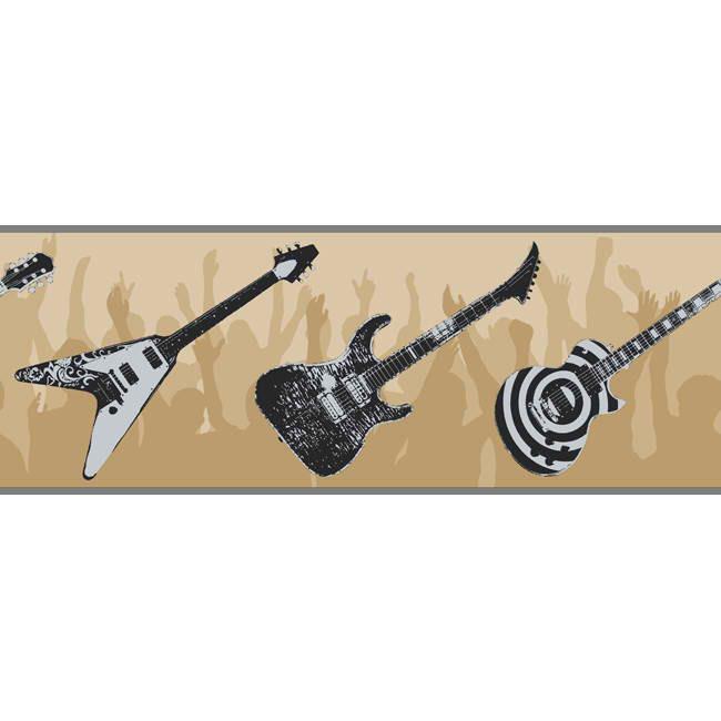Black Beige ZB3118B Guitar Wallpaper Border   Baby Nursery Kids 650x650