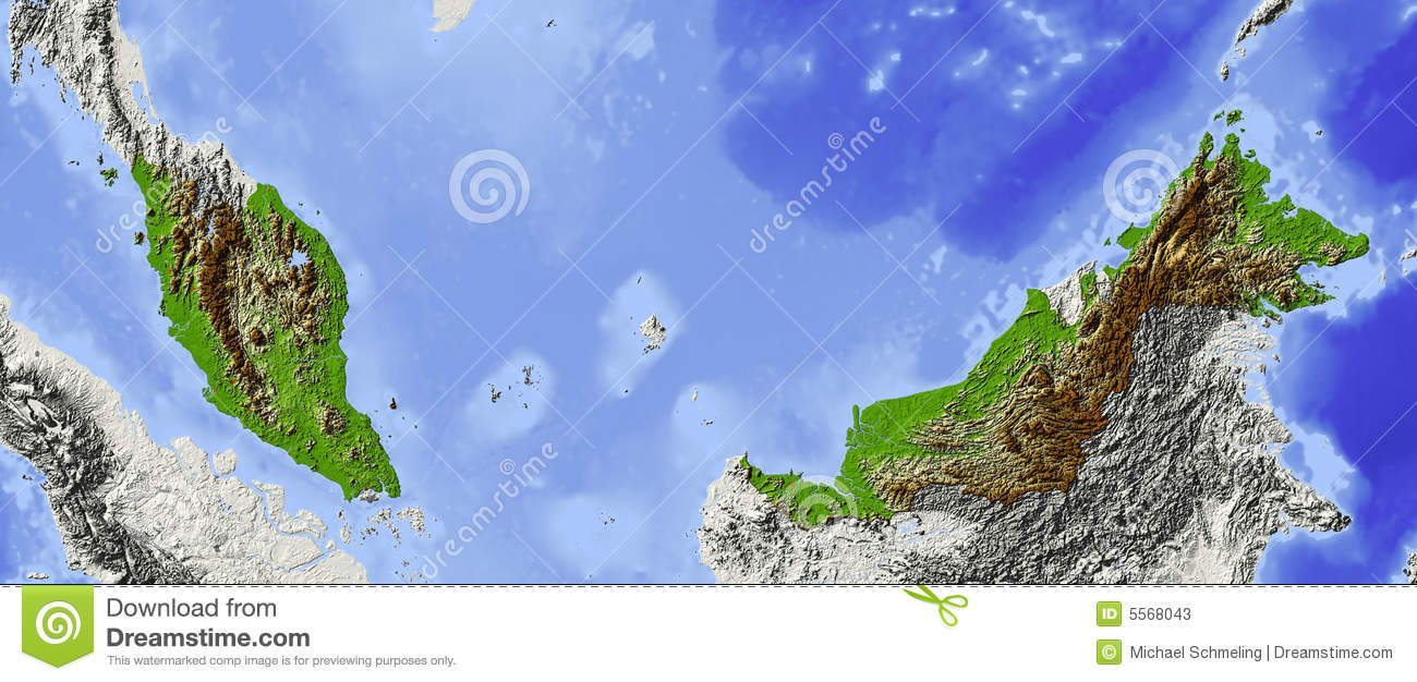 Malaysia Shaded relief map Surrounding territory greyed out Colored 1300x626