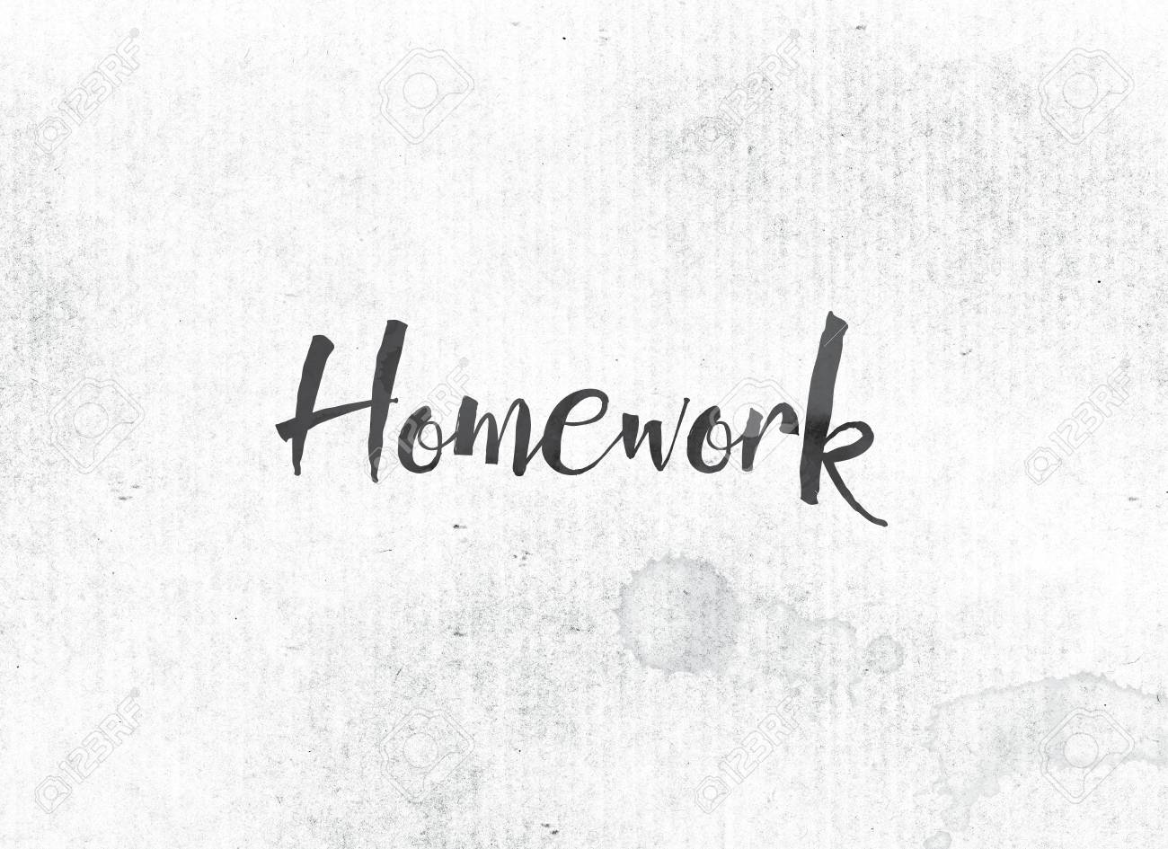 The Word Homework Concept And Theme Painted In Black Ink On A 1300x945