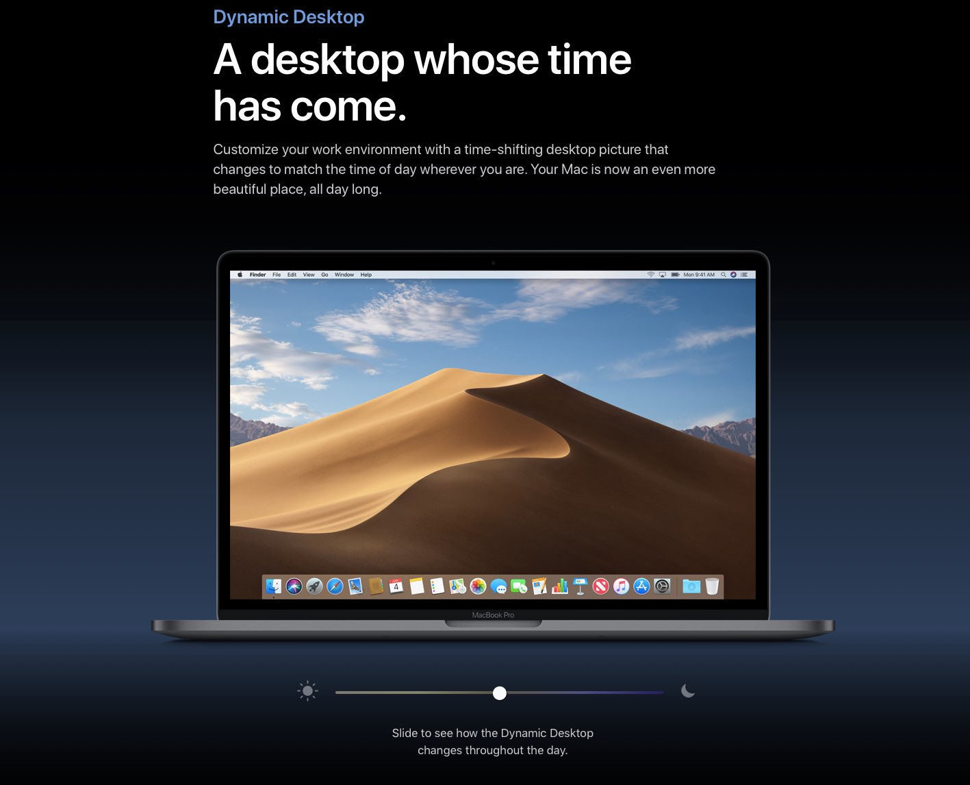 macOS Mojave sports a time shifting wallpaper that changes through 1417x1146