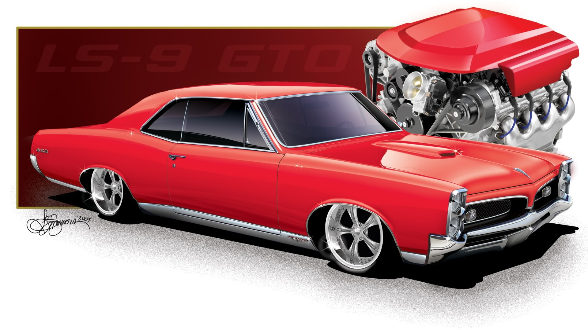1967 Red LS9 Pontiac GTO wallpaper 1920x1080 36938 WallpaperUP 1920x1080