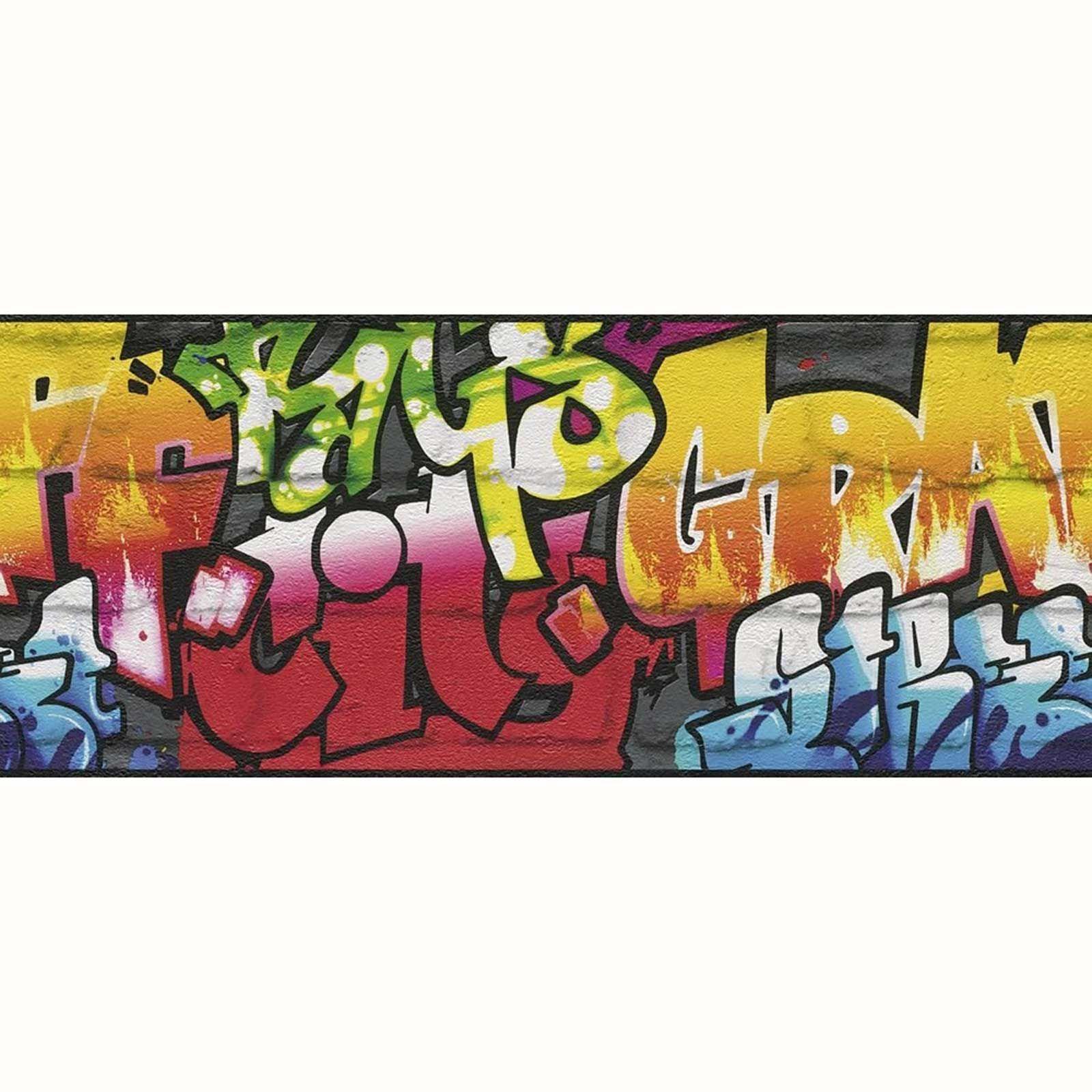 Details about BLACK GRAFFITI WALLPAPER BORDERS   RASCH 237900   NEW 1600x1600