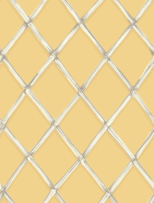 trellis wallpaper in taupes and white on a strong golden yellow 534x705