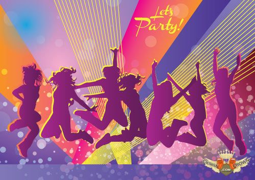Cool party vector images and backgrounds with dancers 500x353