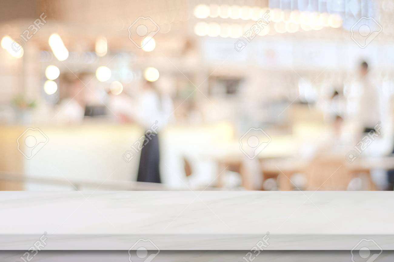 Empty White Marble Over Blur Cafe Background Product And Food 1300x866