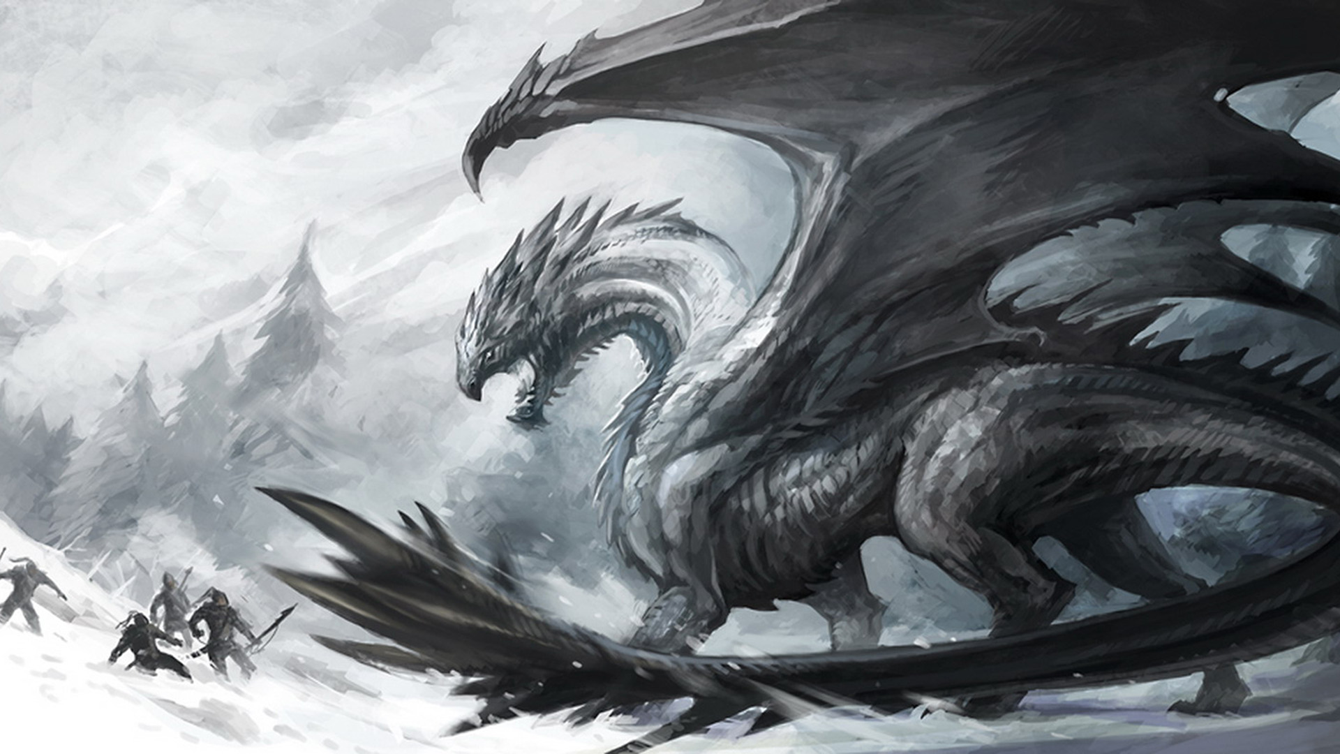 black and white dragon Wallpaper Background 26810 1920x1080