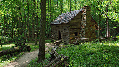 Nature Trail Dressed Log Cabin HD Wallpaper Desktop Great Smoky 640x360