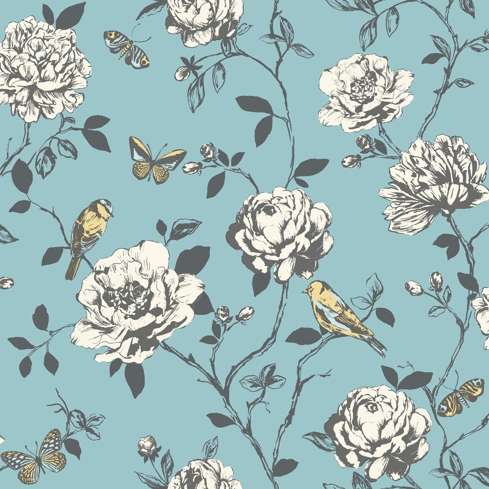 Flower Bird Butterfly Floral Pattern Silver Glitter Wallpaper 204339 1000x1000