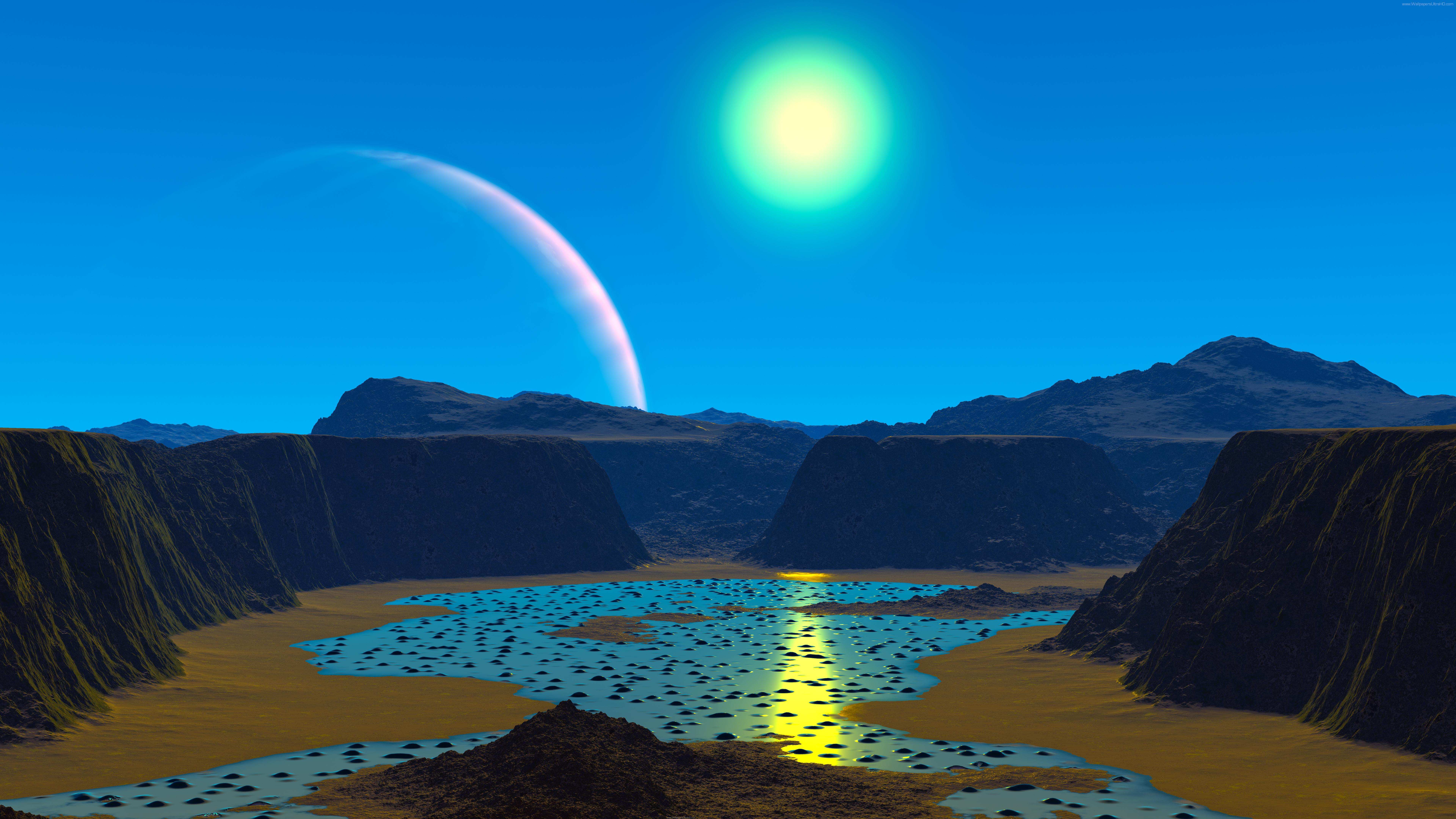 Ultra HD wallpapers 8K 3D Alien planet 7680x4320 7680x4320