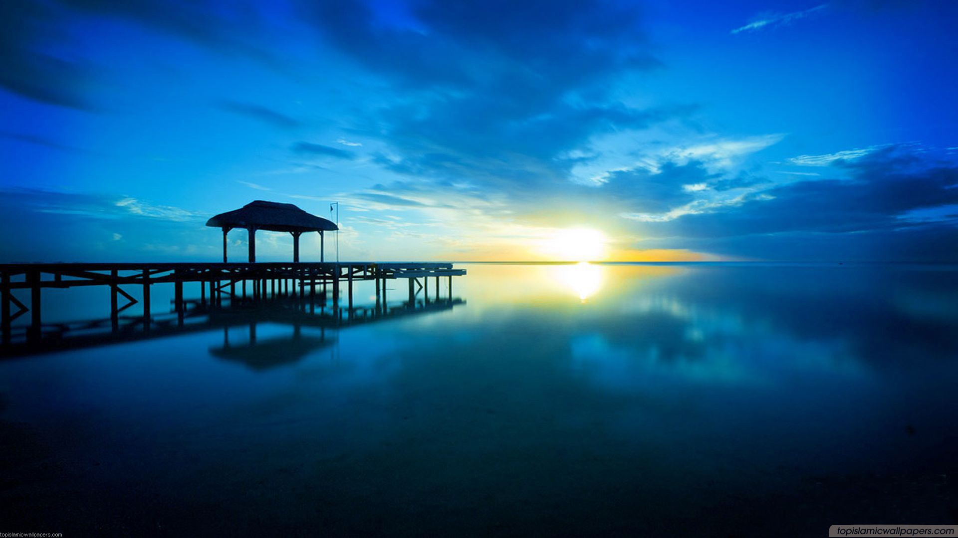 Wonderful Blue Sea HD Sunset Wallpaper 1920x1080