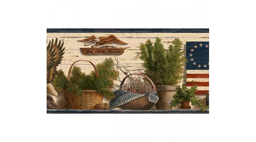 Home Blue Red and Green Lodge Flag Wallpaper Border 900x500