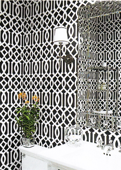 Imperial Trellis Wallpaper   Contemporary   bathroom   Elle Decor 399x558