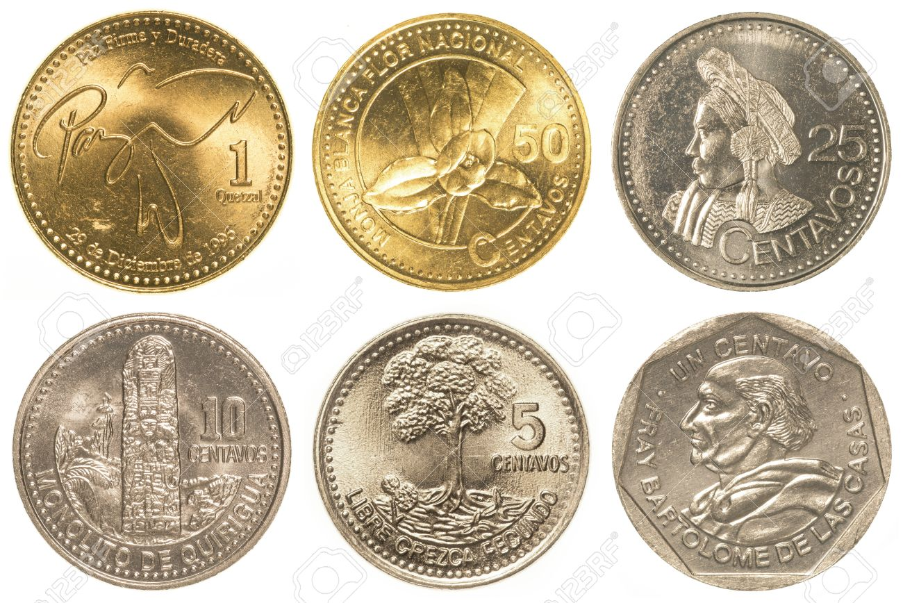 Guatemalan Quetzal Coins Collection Set Isolated On White 1300x868