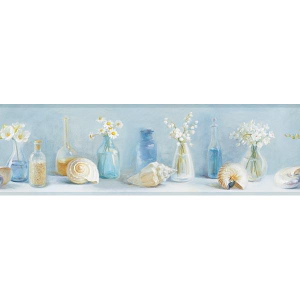 Blue Sea Glass Border   Cahoon   Sand Dollar Wallpaper by Chesapeake 600x600