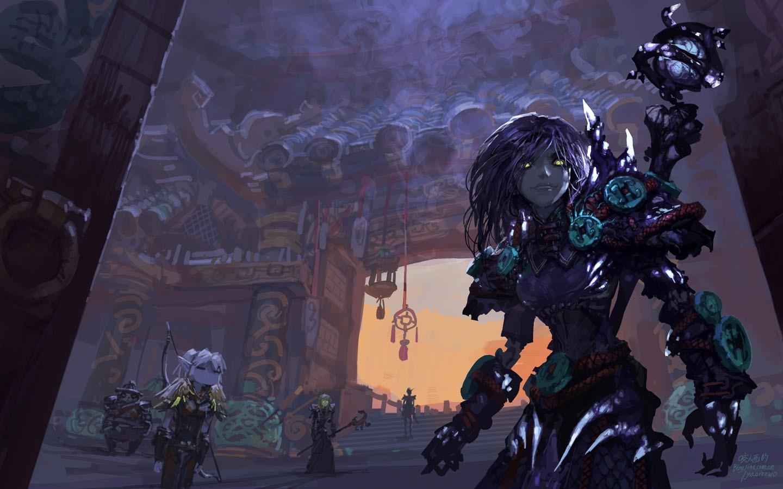 Wallpapers World of Warcraft purple fantasy art artwork Warlock 1440x900
