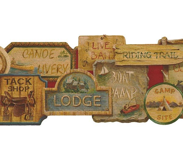Camping Signs Lodge Lodge Wallpaper Wall Border 600x525