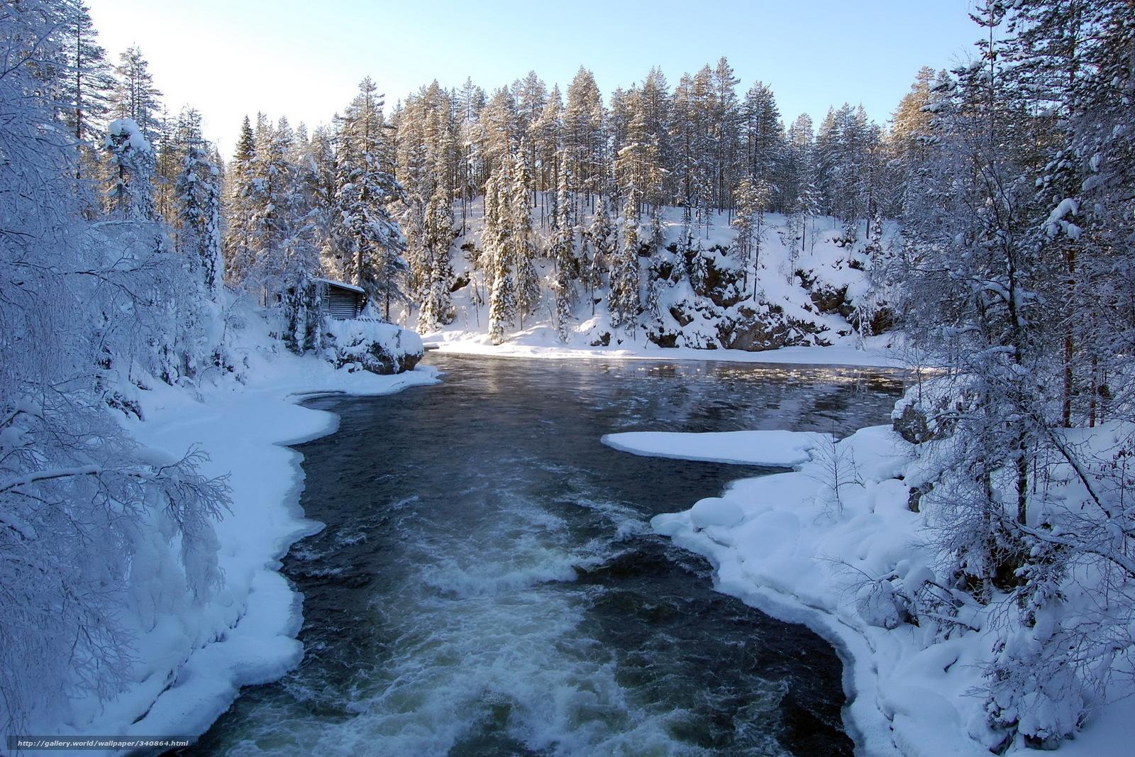 Download wallpaper Winter river snow forest desktop wallpaper 1600x1067
