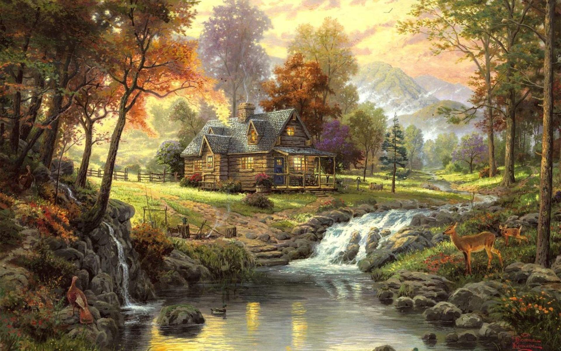houses artistic mountains wallpaper 1920x1200 24310 WallpaperUP 1920x1200
