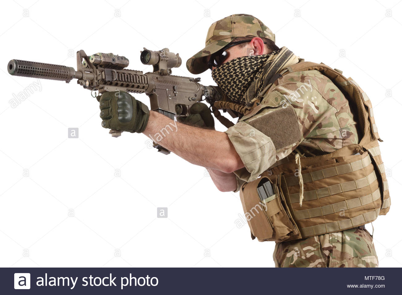 Private Military Company operator with assault rifle on white 1300x956