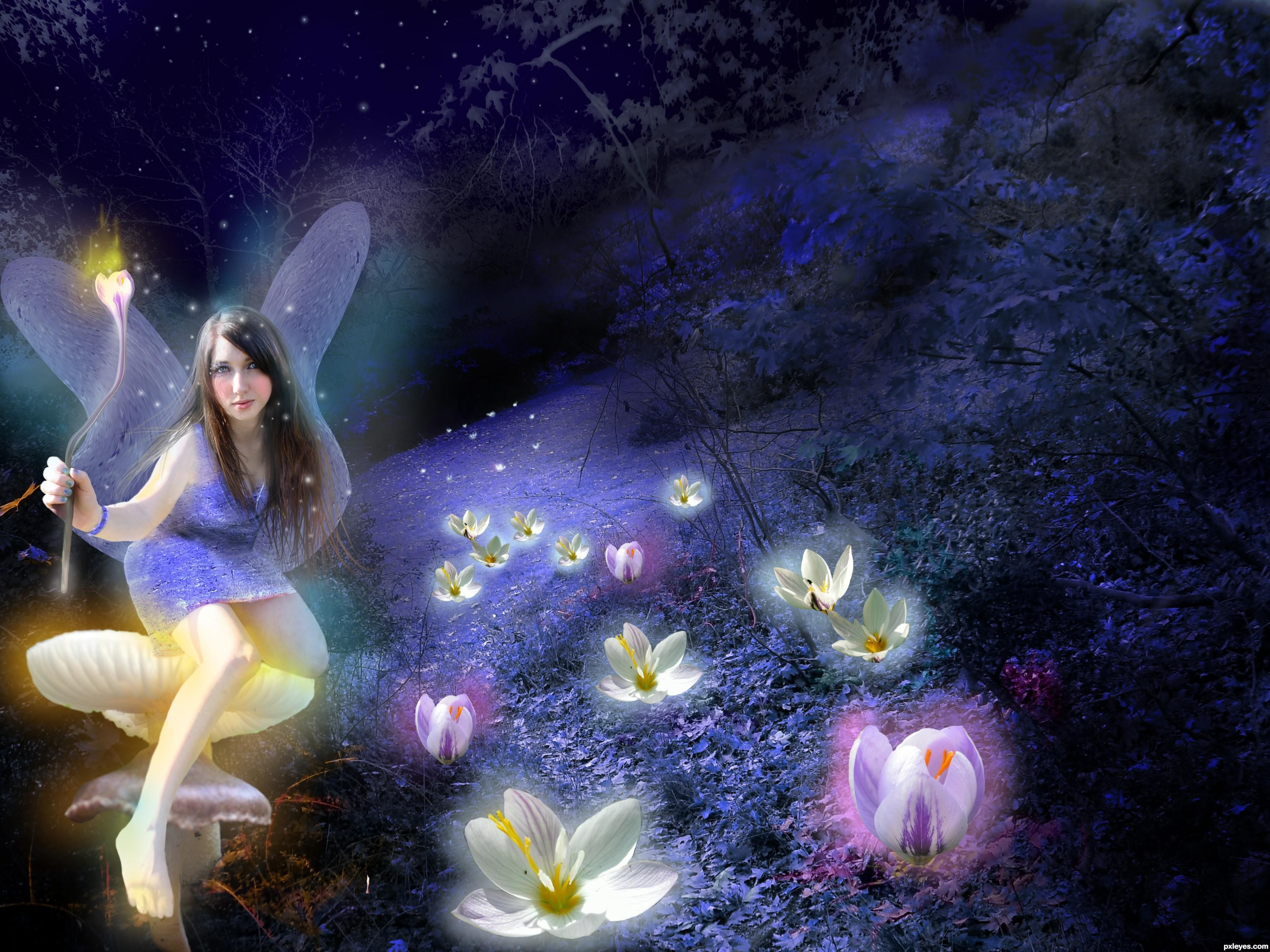 fairy garden white wallpaper - photo #35
