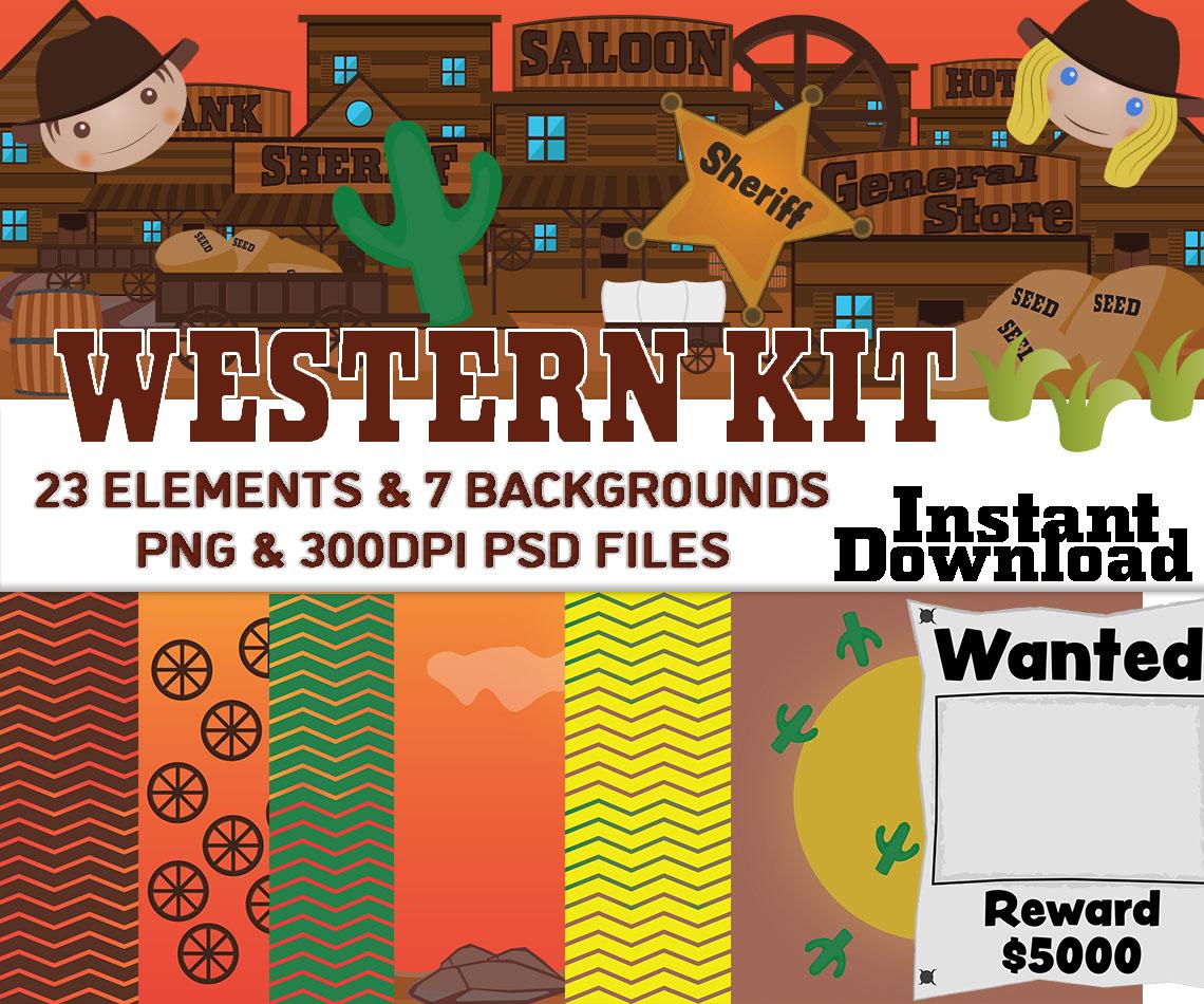 Western Town Downloadable Clip Art Western Backgrounds Kit Wiz 1140x950