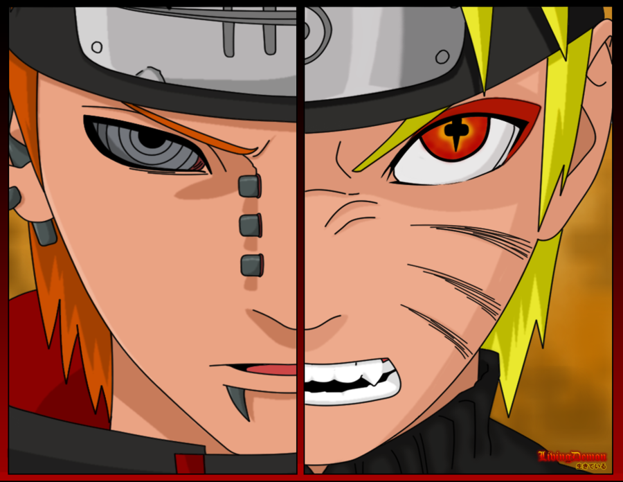 Naruto Vs Pain Drawing and Coloring for Kids 900x696