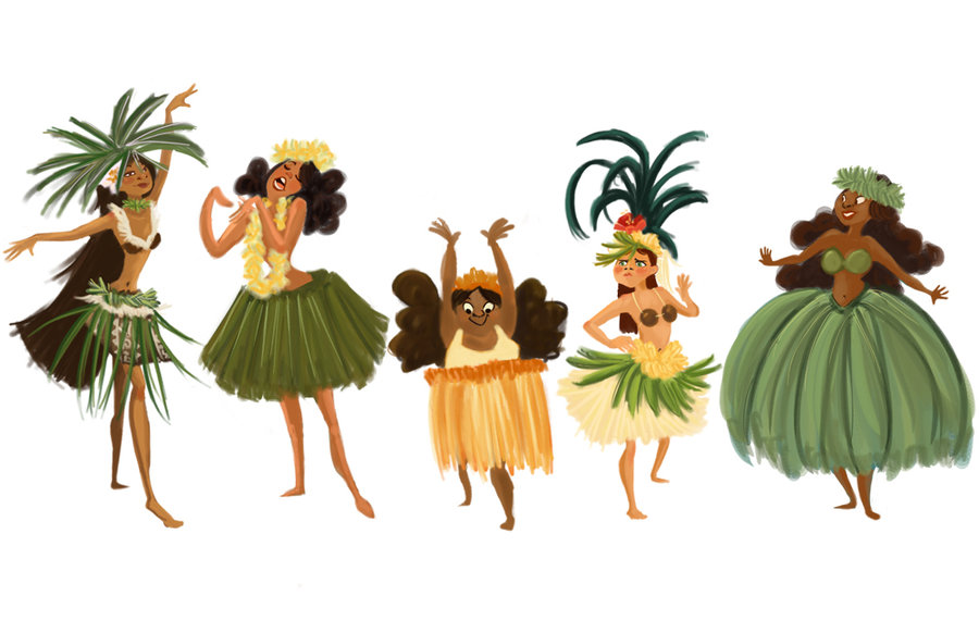 Hula Girls by dinglehopper 900x582