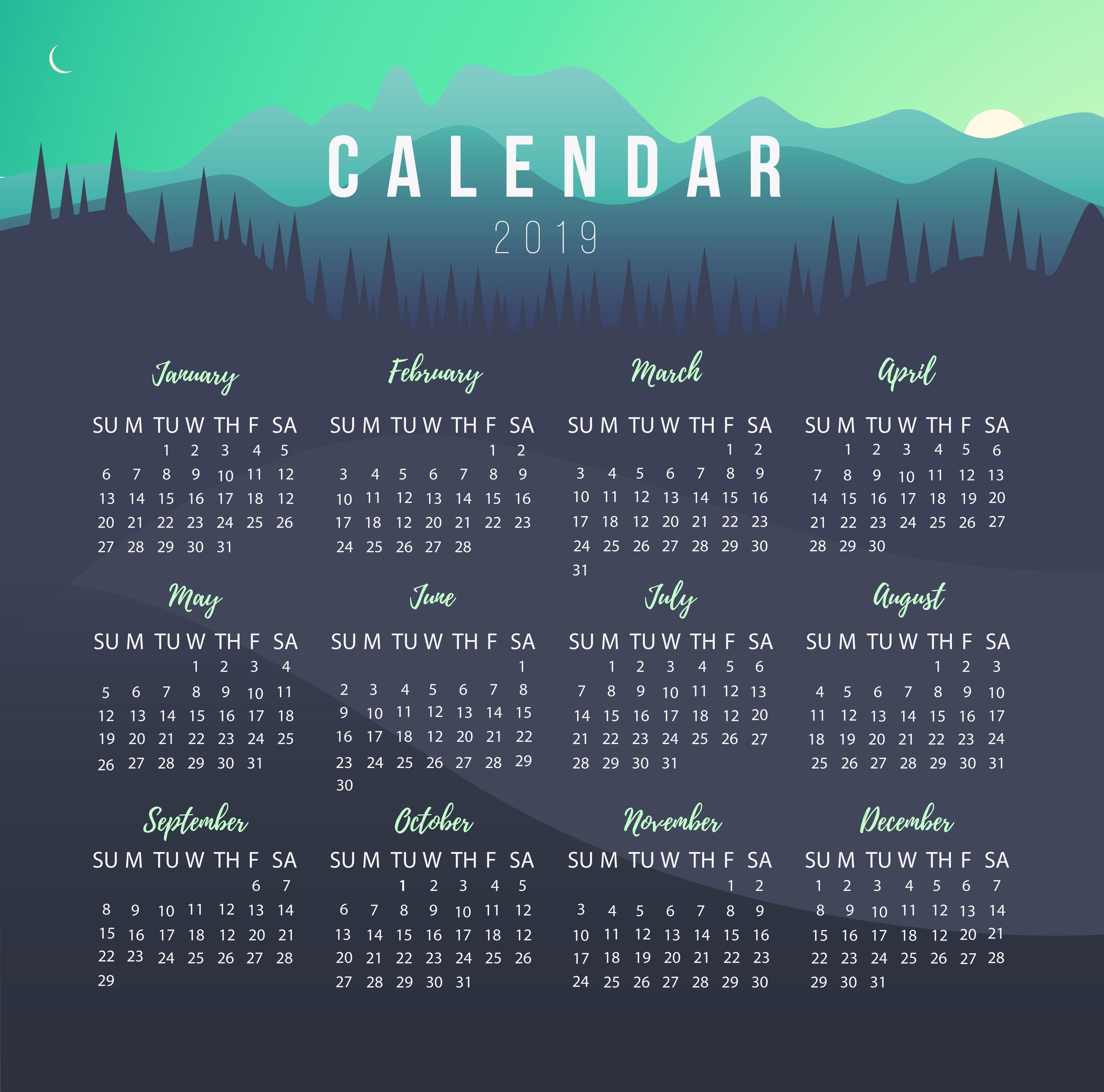 Printable 2019 Calendar Calendar 2019 3332x3296