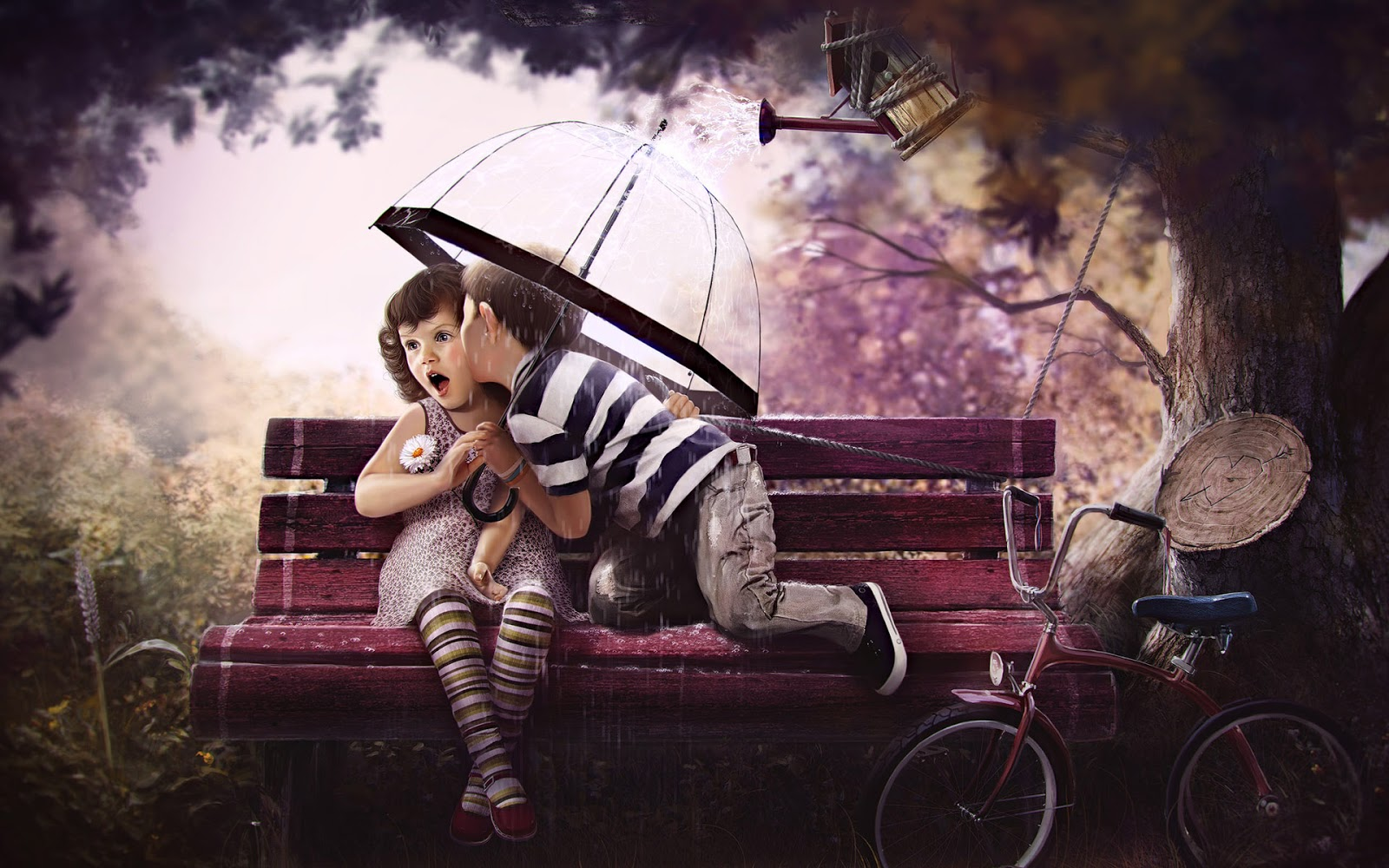 Cute Baby Girl And Boy Kissing On The Bench HD Wallpaper Cute Little 1600x1000